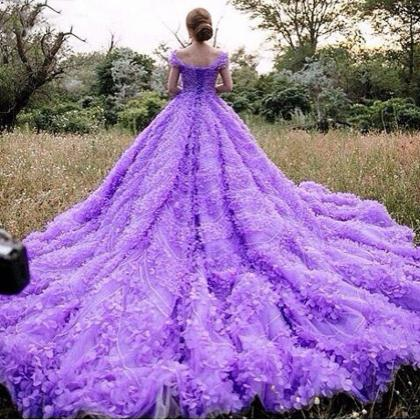 2017 Real Gorgeous Purple Ball Gown..