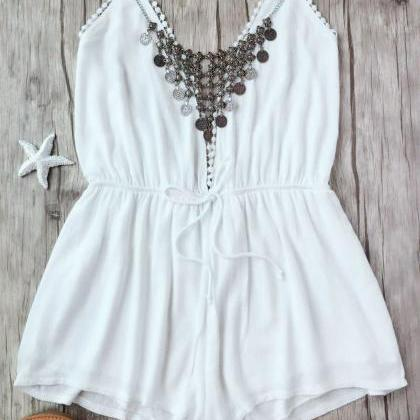 Plunge Halter Beach Cover Up Romper..