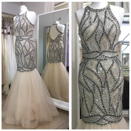 crystal beaded tulle champagne merm..