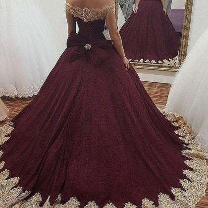 burgundy wedding dress,maroon ball ..