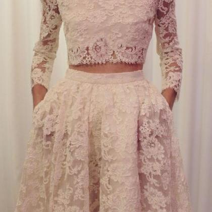 Two Pieces Long Sleeves Lace Weddin..