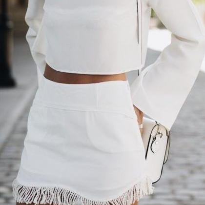White Two-Piece Set Featuring Long ..