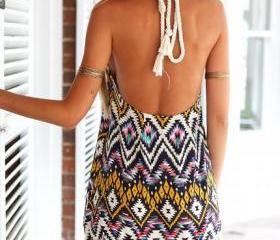 Sexy backless dress diamond neck hanging tassel