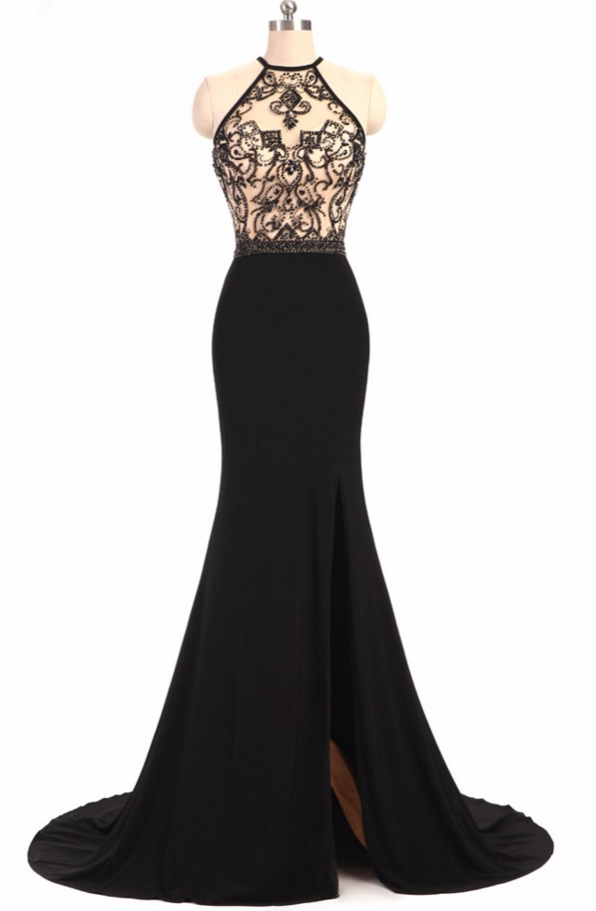 Halter Beading Mermaid Long Prom Dres, Evening Dress Featuring Side Slit and Crisscross Back