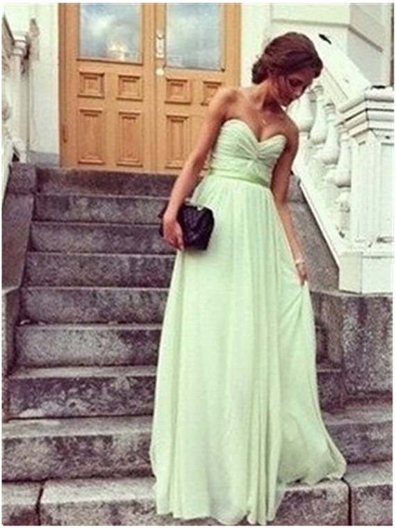 Green Chiffon Ruched Sweetheart Floor Length A-Line Prom Dress, Bridesmaid Dress