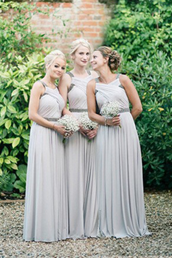 Custom Made Gray Criss-Cross Keyhole Chiffon Bridesmaid Dresses with Beaded Embellishments