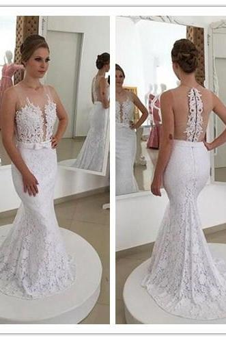 Wedding Dress,Marvelous Wedding Dress,Tulle Wedding Dress,Jewel Neckline Wedding Dress, Mermaid Wedding Dress,Lace Wedding Dress, Appliques Wedding Dress