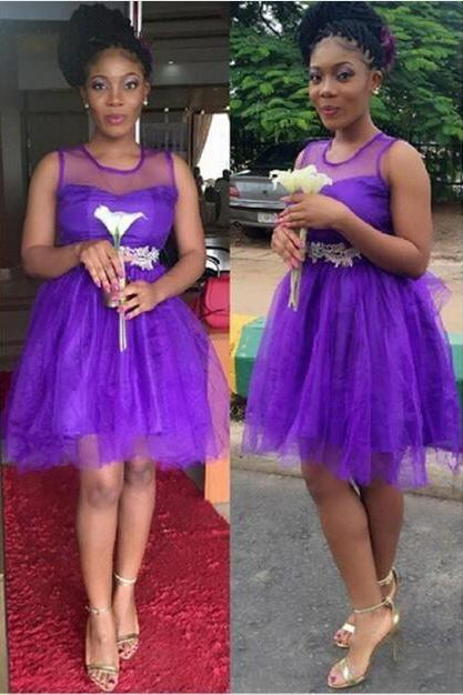 Purple Short Bridesmaid dresses 2017 Tulle A line Cheap Appliques Women Party dress for Wedding Beauty Elegant Special Occasion