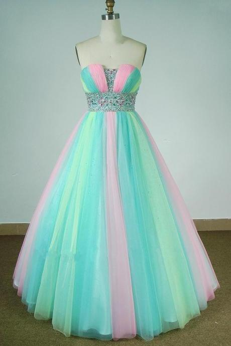 Beautiful Multi-Color Prom Formal Evening Gowns Strapless Beaded Tulle Princess A Line Quinceanera Dresses