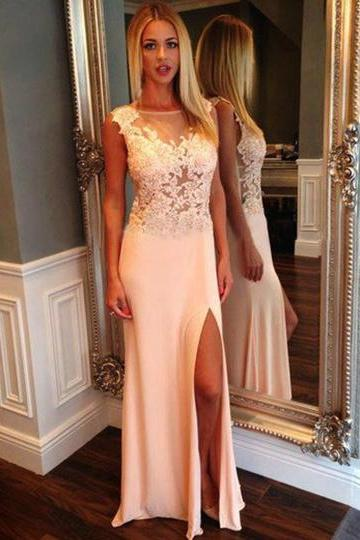 Floral Lace Illusion Prom Dresses with Side Slit, White Prom Dresses with Tank See-through Bodice, Beautiful Long Prom Dresses,
