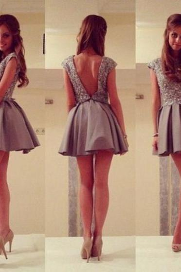 Homecoming Dress,Short Prom Gown,Grey Homecoming Gowns,Backless Party Dress,Sequined Prom Dresses,2017 Homecoming Dress For Teens
