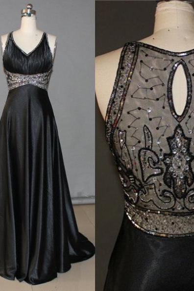 Black A-Line V-Neck Sleeveless Natural Prom Sweep/Brush Train Prom Dresses 2017