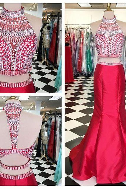 2 Piece Prom Gown,Two Piece Prom Dresses,Red Evening Gowns,2 Pieces Party Dresses,Evening Gowns,Sparkle Formal Dress For Teens