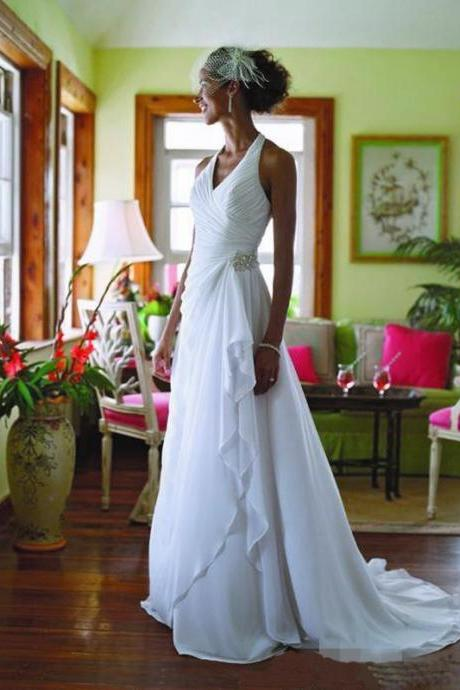 Beach Wedding Dresses,Chiffon Wedding Dresses,2017 Wedding Dresses,Halter Wedding Dresses,Real Photo Wedding Dresses,Court Train Wedding Dresses,Bridal Gown