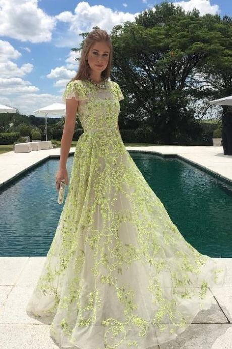 Green Lace Prom Dress,Short Sleeve Prom Dress,Party Dress,Fashion Prom Dress,Sexy Party Dress,Custom Made Evening Dress