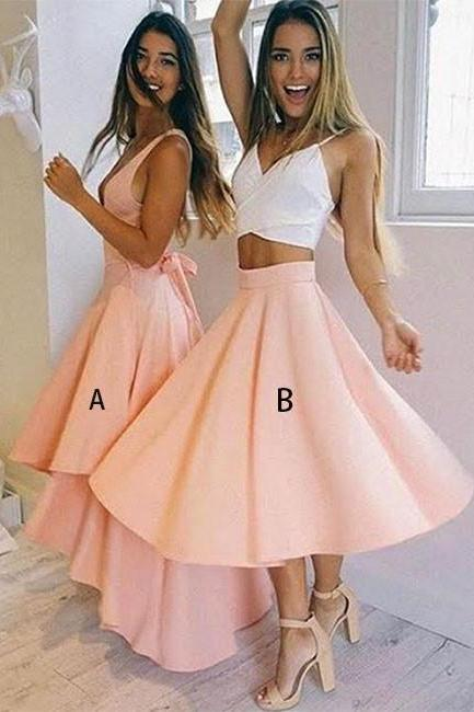 Cute A Line Homecoming Dress,Pink V Neck Party Dress,Evening Dresses