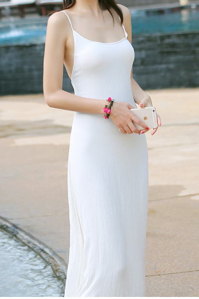 White Spaghetti Straps Maxi Dress Featuring Criss-Cross Open Back