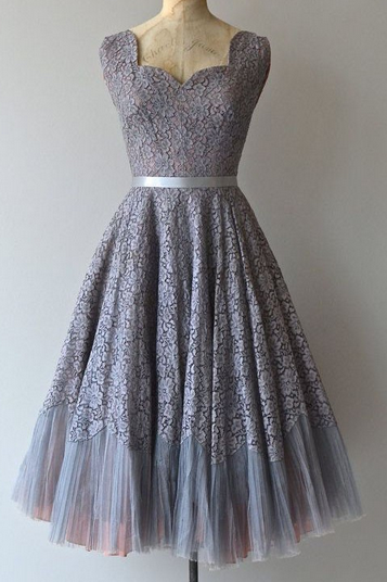 Homecoming Dresses,Vintage Short Lace Prom Dress,Homecoming Dress with Sash