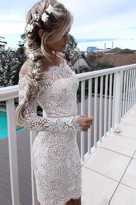 Cheap homecoming dresses 2017,Sheath Off-the-Shoulder Long Sleeves White Lace Homecoming Cocktail Dress