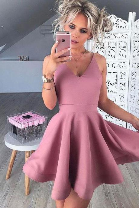 Cheap homecoming dresses 2017,A-Line V-Neck Sleeveless Short Blush Satin Prom Homecoming Dress