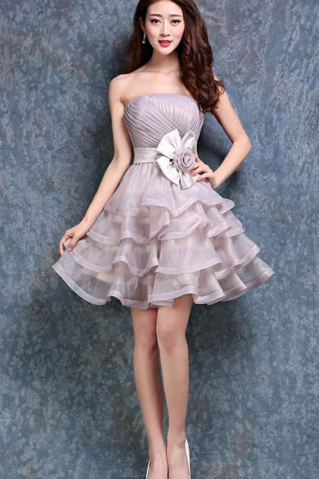Short Strapless Prom Cocktail Evening Party Dress Bridesmaid Dress Ball Gown