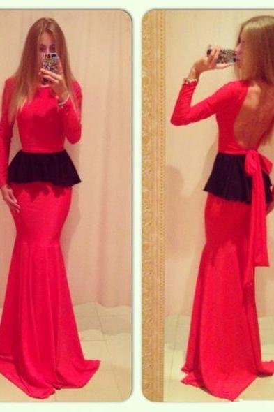 Backless Prom Dress,Long Sleeve Prom Dress,Sheath Prom Dress,Fashion Prom Dress,Sexy Party Dress, New Style Evening Dress