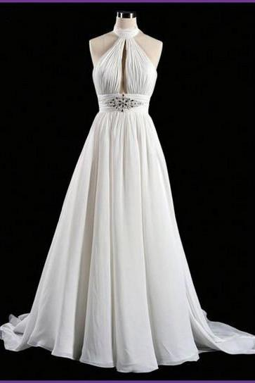 Wedding Dress,Sexy Elegant Custom Made Beach Wedding Dress,A Line Wedding Dress,Backless Wedding Dresses,Dresses For Wedding, Wedding Gowns, Chiffon Wedding Dress,High Quality Graduation Dresses,Wedding Guest Prom Gowns, Formal Occasion Dresses,Formal Dress