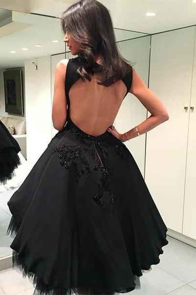 Black Tulle Ball Gowns Homecoming Dresses with Open Back,Fashion Homecoming Dress,Sexy Party Dress,Custom Made Evening Dress