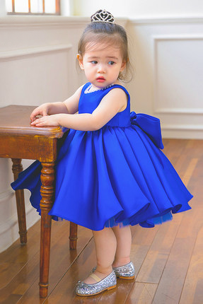 Newborn-10M Flower Girl Dress, Blue Flower Girl Dress, Royal Blue Girl Dress, Flower Girl Dresses, Baby Girl Birthday Dress, Royal Blue Bridesmaid Dress, Children Dress,
