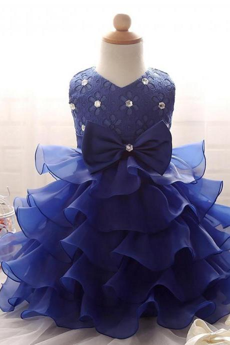 Girls Dress,Flowergirl Dresses,Wedding Party Dress,Royal Blue Flower Girl Dress,Ruffles Flower Girl Dress,Organza Little Girls Party Dress,
