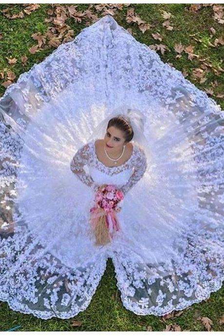 Long Sleeve Lace Bridal Ball Gown,Fashion Bridal Dress,Sexy Party Dress,Custom Made Evening Dress