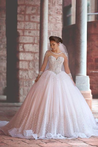 Sheer Long-Sleeved Beaded Ball Gown Wedding Dress, Custom Made Evening Dress