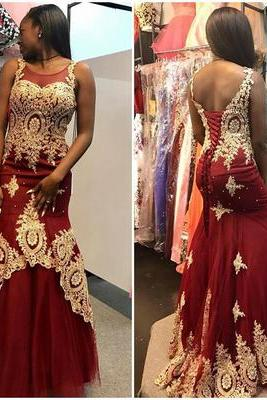 Gold Lace Appliqued Burgundy Prom Dresses,Mermaid Pageant Dresses,Fashion Prom Dress,Sexy Party Dress,Custom Made Evening Dress