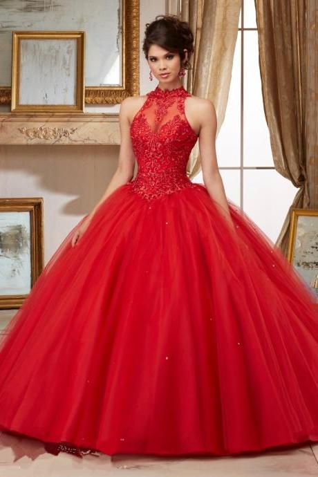 Modest Quinceanera Dress,Red Prom Dress,Fashion Prom Dress,Sexy Party Dress,Custom Made Evening Dress