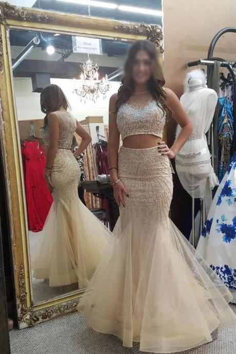 Sparkly Beaded Mermaid 2 Pieces Prom Dresses,Fashion Prom Dress,Sexy Party Dress,Custom Made Evening Dress