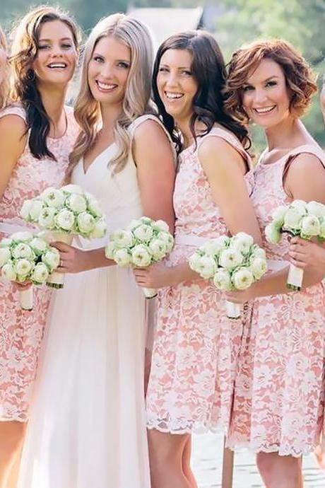 Pink Sleeveless Knee Length Lace Bridesmaid Dress