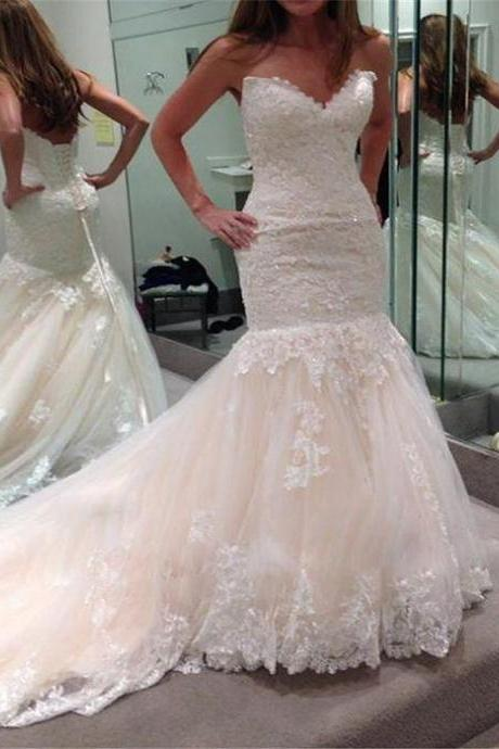 Hot Sale Wedding Dresses,Sweetheart Wedding Gown,Lace Wedding Gowns,Princess Bridal Dress,Mermaid Wedding Dress,Beautiful Brides Dress,Romantic Wedding Gowns For Spring