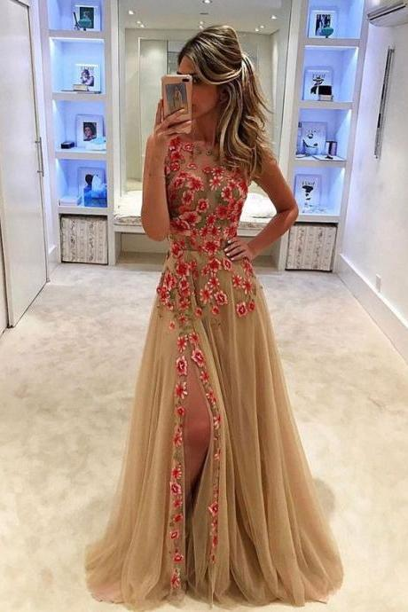 Unique champagne tulle applique long prom dress,Fashion Prom Dress,Sexy Party Dress,Custom Made Evening Dress