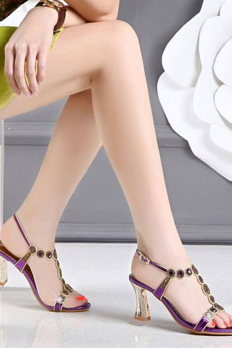 Ulass 2017 New Type of High-Heeled Shoes with High Heels with Rhinestone Leather Sexy Heels