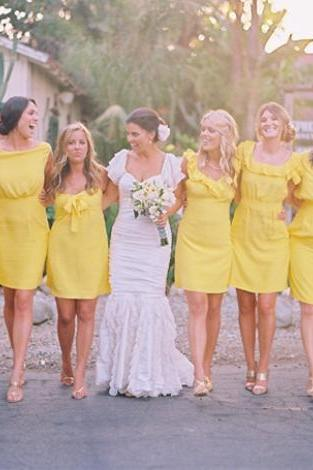 Charming Prom Dress,Yellow Prom Dress,Pencil Prom Dress,Fashion Bridesmaid Dress,Sexy Party Dress, New Style Evening Dress
