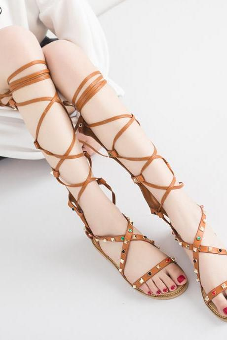Faux Leather Lace-Up Gladiator Sandals Featuring Rivets
