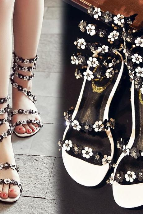 Fashion open toe shining rhinestone women shoes