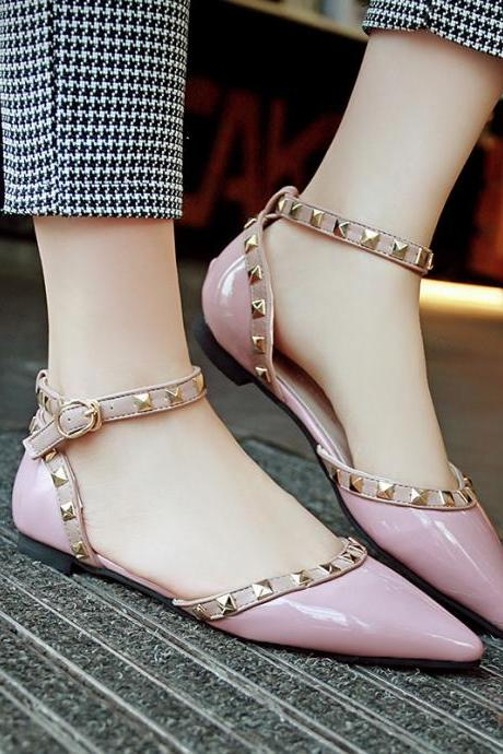 Pointed-Toe Ankle Strap Flats with Rivet Detailing