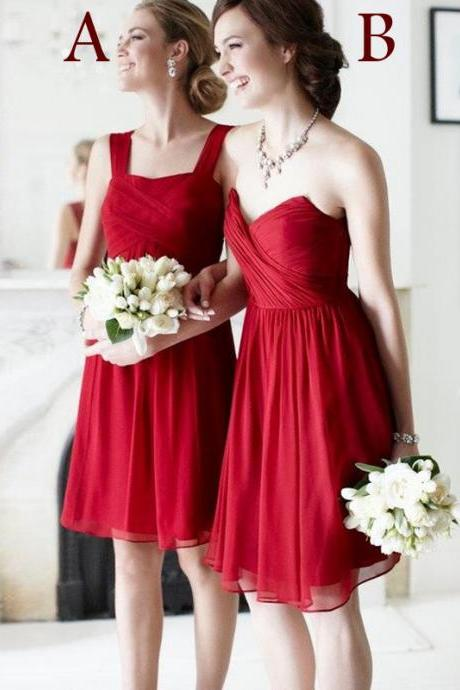 Customisable Red Chiffon Knee Length Mismatched Bridesmaid Dresses