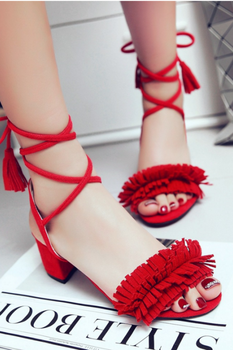 Sexy Belt Peep-Toe High-Heeled Tassel Sandals