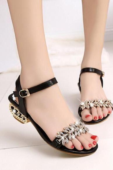 Peep-toe Roman Deformed Low With Party With Diamond Sandals
