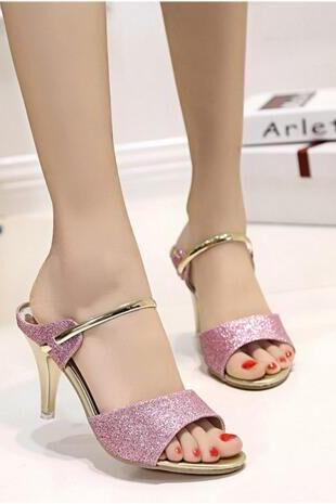 With Peep-Toe Sequins Thick With Frosted Antiskid Sandals