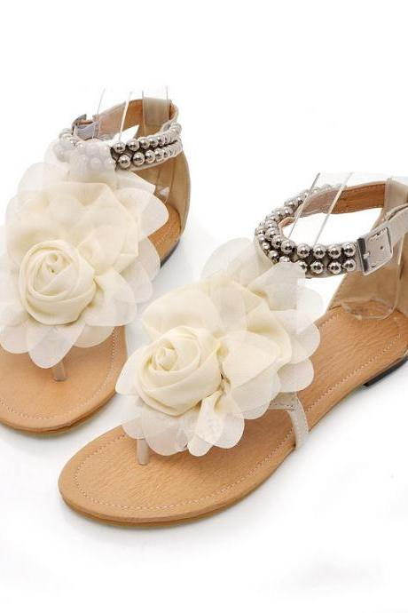 Boho Chiffon Rose Sandal Flats with Beading and Back Zipper