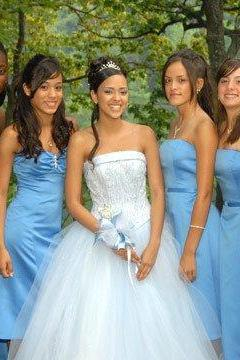 Customisable Blue Satin Lace Knee Length Strapless Bridesmaid Dresses