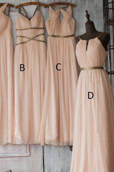 Custom Made Peach Draped and Pleated Chiffon Floor Length Mismatched Bridesmaid Dress